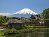 20387606 - old japanese hut with mt. fuji